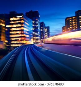 Tokyo Odaiba rail motion blurred background