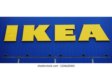 Tokyo, OSAKA- October 28, 2017: The IKEA logo in Japan. IKEA store. IKEA is a multinational group of companies that designs, sells ready-to-assemble furniture.