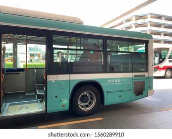 Tokyo Province/Japan: November 9 2019: Free shuttle bus  from Haneda domestic terminal to international terminal