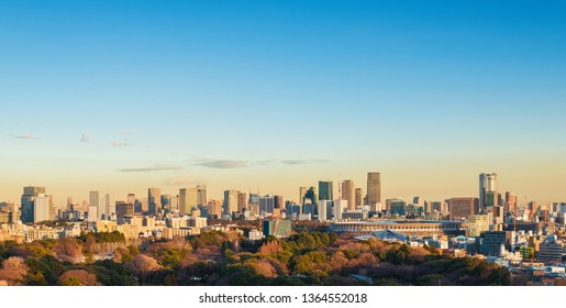 Tokyo Roppongi and Minato District skyline at sunset (with copy space above)