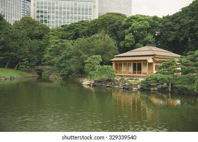 TOKYO - September 16: Hama Rikyu Gardens on September 16, 2015 in Tokyo, Japan. Hama Rikyu Gardens is a large, attractive landscape gardens in central Tokyo. Located alongside Tokyo Bay.