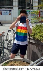 TOKYO, SHIBUYA-KU/JAPAN â?? MAY 8, 2016: People celebrate Gay Pride in Tokyo's Yoyogi Park and Shibuya District on May 8 2016
