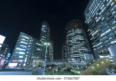 Tokyo Shinagawa station and high-rise building street Twilight night view