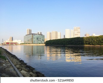 Tokyo, Shinonome, View of Tower Mansions from River