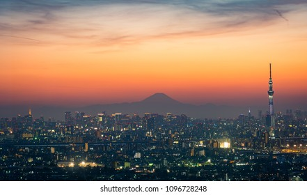 Tokyo Sky Tree, Fuji mountain and Tokyo city view taken from I-link Town Observation deck