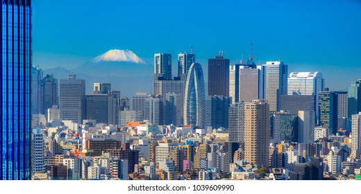 Tokyo skyline with Mount Fuji,  Japan.