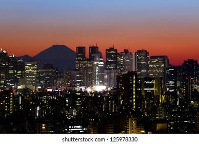Tokyo skyline and Mount Fuji at sunset