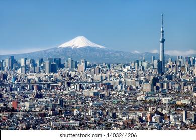 Tokyo skyline with Mt Fuji and Skytree, Japan