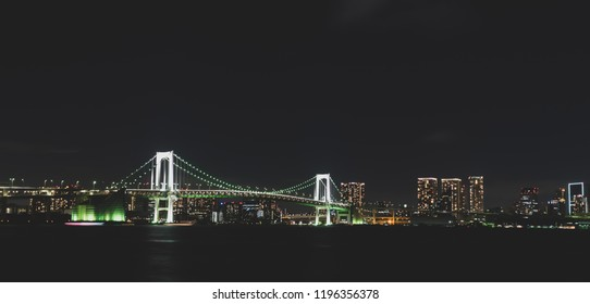 Tokyo skyline with Tokyo rainbow bridge at night