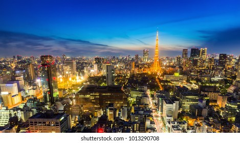 Tokyo skyline with tokyo tower during dusk time,Japan.