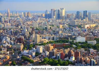Tokyo skyline - urban sprawl cityscape with Toshima and Shinjuku wards. Warm sunset light.