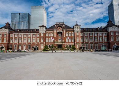 Tokyo station and business buildings in the daytime