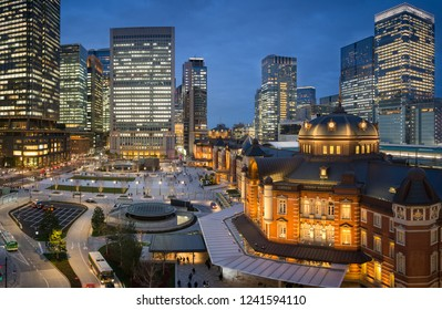 Tokyo station and Tokyo city view in evening sky taken from rooftop garden of Kitte building, Tokyo, Japan, 7th April 2018