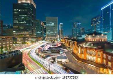 Tokyo station at dusk