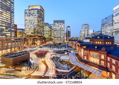 Tokyo Station at the Marunouchi business district, Tokyo Japan during blue hour