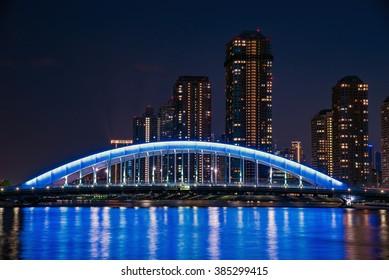 Tokyo Sumida river and Eitai bridge in Japan