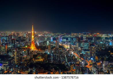 Tokyo tower city view from roppongi hills, Tokyo, Japan.