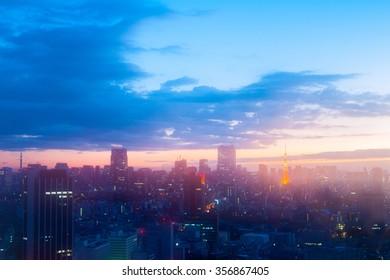 tokyo tower morning view,tokyo,japan