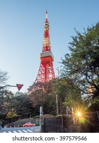 Tokyo tower is outstanding unique landmark in Tokyo, Japan, under twilight evening sky