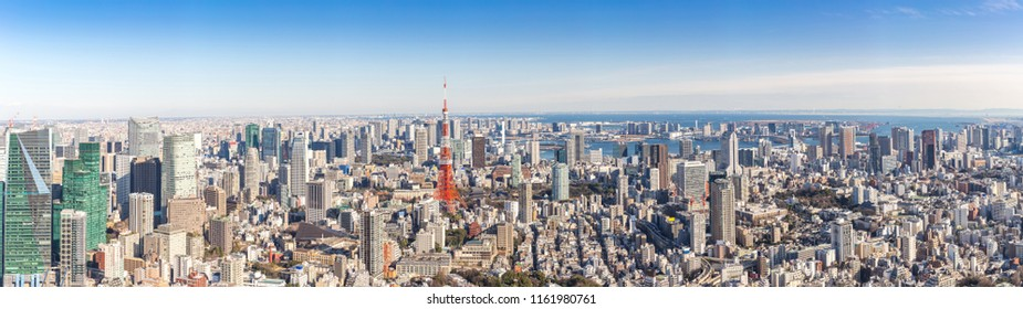 Tokyo Tower with skyline in Tokyo Japan Panorama