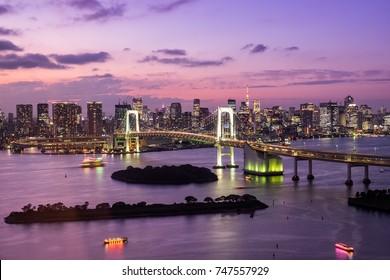 Tokyo Tower skyline and Rainbow Bridge with cityscape at Odaiba Japan