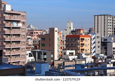 Tokyo typical residential architecture skyline in Asakusa district.