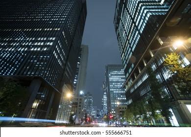 Tokyo urban landscape night scenery light trace