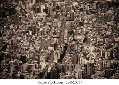 Tokyo urban rooftop view background, Japan.