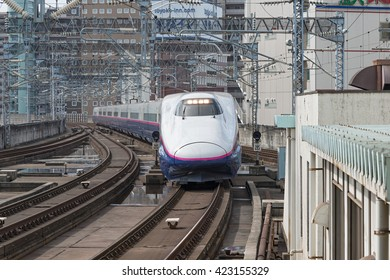 "TOKYO-April 14,2016:The E2 Series bullet (High-speed) train. It almost services as ""Yamabiko"" operated by JR East for Tohoku Shinkansen lines. (Tokyo - Morioka route)"