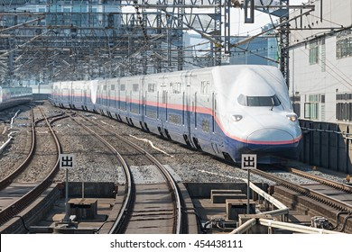 TOKYO-APRIL 15,2016:E4 Series bullet(High-speed) train. E4 is the last Double-Decker high-speed train type in Japan. It services as MAX Toki or Tanigawa, operated by JR East on Joetsu Shinkansen line.