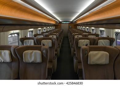 "TOKYO-April 19,2016: Green seats of E5 Series bullet(High-speed,Shinkansen) train. This Shinkansen train service as ""Hayabusa or Hayate"" operated by JR East/Hokkaido for Tohoku/Hokkaido Shinkansen."