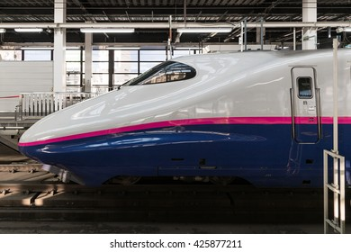 """TOKYO-April 19,2016:Side view of the E2 Series bullet (High-speed or Shinkansen) train. This train services as """"Yamabiko"""" operated by JR East for Tohoku Shinkansen lines. (Tokyo - Morioka route)"""