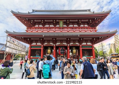 TOKYO-APRIL10: Tourists visit Senso-ji Temple on April 10, 2014 in Tokyo,Japan.The Senso-ji Buddhist Temple is the symbol of Asakusa and one of the most famous temples of Japan.