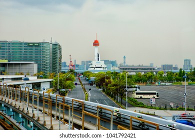 Tokyo,Japan, 04/21/2017,The Island Of Odaiba. The Monorail, Yurikamome. Museum of marine Sciences. The Yurikamome line is a line of automatically operated trains passing through the island of Odaiba.