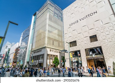 TOKYO,JAPAN - 10 May 2015 :In Ginza on weekend afternoons when the central Chuo Dori street is closed to automobile traffic and become a large pedestrian zone.