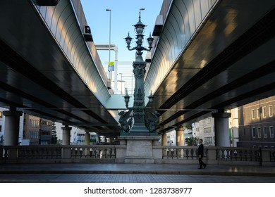 TOKYO,JAPAN - 24 November 2018 : Nihonbashi bridge has been the kilometer zero marker for Japan's national highway network since the early Edo Period.