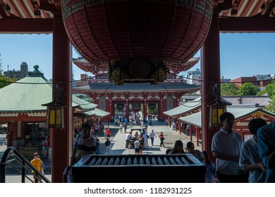 TOKYO,JAPAN - 27 August 2018 : Sensoji temple is Tokyo's most famous and popular temple.It is also one of its oldest, although the current buildings are postwar reconstructions.