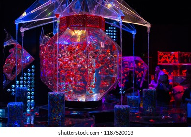 TOKYO,JAPAN - 29 August 2018: Eco Edo Nihonbashi Art Aquarium is an exhibition features ornamental goldfish in various ornate bowls, tanks and ponds with colorful lighting and effects.