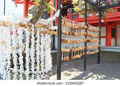 "Tokyo,Japan - Apr 30,2017:Bishamonten Buddhist Temple in the Kagurazaka. Chinese characters mean ""bishamonten kagurazaka"""