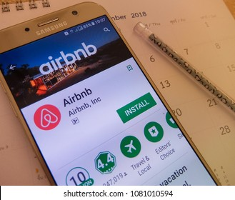 Tokyo,Japan. April 28, 2018: airbnb application on smartphone screen. airbnb app is for people to rent short- term lodging.