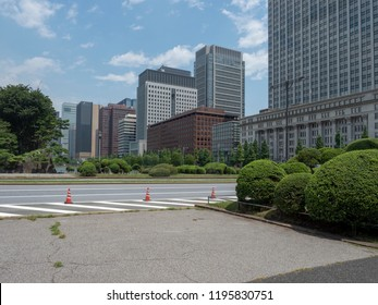 Tokyo/Japan - August 11 2018: Kajibashi-dori street, Tokyo. Marunouchi is a commercial district of Tokyo located in Chiyoda between Tokyo Station and the Imperial Palace.