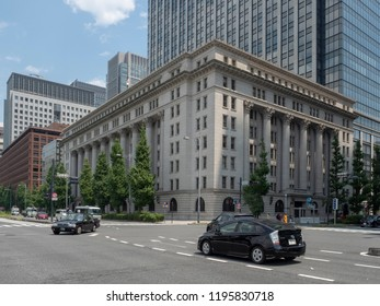 Tokyo/Japan - August 11 2018: Meiji Yasuda Life building in Marunouchi district, Tokyo. Marunouchi is a commercial district of Tokyo located in Chiyoda between Tokyo Station and the Imperial Palace.