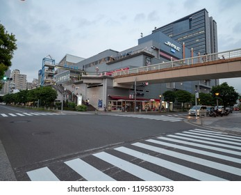 Tokyo/Japan - August 4 2018: Daiba, Minato street in Odaiba, Tokyo. Odaiba is a large artificial island in Tokyo Bay, Japan, across the Rainbow Bridge from central Tokyo.
