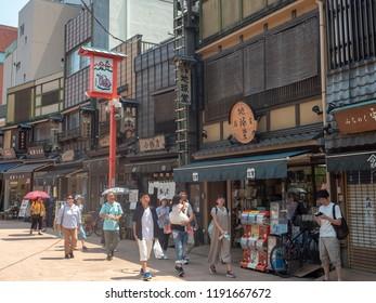 Tokyo/Japan - August 4 2018: Denbouin-Dori street, Asakusa district, Tokyo. Asakusa  is a district in Tokyo, Japan, famous for the Senso-ji, a Buddhist temple dedicated to the  bodhisattva Kannon.