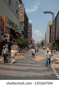 Tokyo/Japan - August 4 2018: Rokku Broadway avenue, Asakusa district, Tokyo. Asakusa  is a district in Tokyo, Japan, famous for the Senso-ji, a Buddhist temple dedicated to the  bodhisattva Kannon.