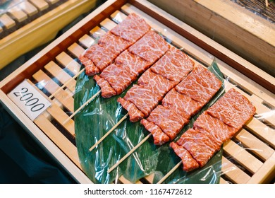 Tokyo,japan - August 8 2016: WAGYU a Japanese beef cattle breed, where 'Wa' means Japanese and 'gyu' means cow. A5 2000yen, at tsukiji market.