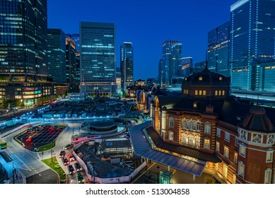 Tokyo,Japan cityscape in the Marunouchi District and Tokyo Station