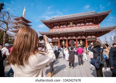 TOKYO,JAPAN - February 20, 2019 : Senso-ji Temple , famous temple in Tokyo,Japan.