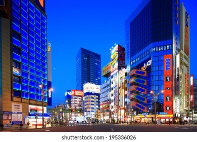Tokyo,Japan - March 19:Twilight shot of Akihabara shopping area in Tokyo on March 19, 2013. Akihabara is one of best electronics shopping destination in Tokyo.