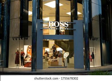 Tokyo/Japan March 2, 2020 Hugo Boss store. Hugo Boss AG, often styled as BOSS, is a German luxury fashion house headquartered in Metzingen, Baden-Württemberg.